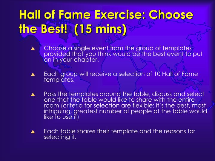 Hall of Fame Exercise: Choose the Best!  (15 mins)