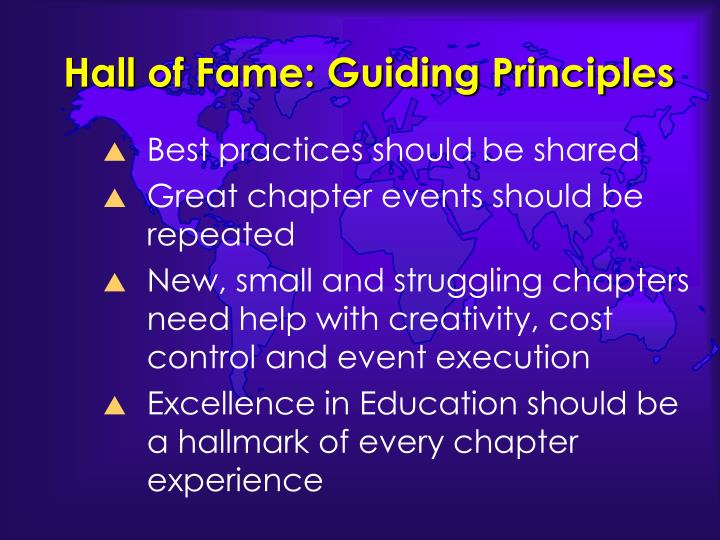 Hall of Fame: Guiding Principles