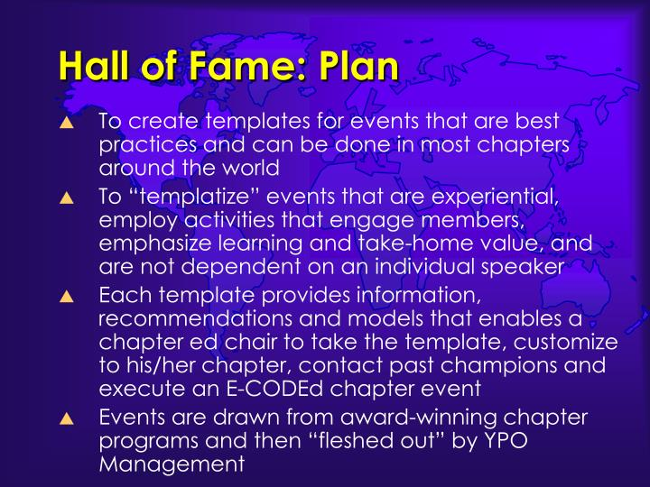 Hall of Fame: Plan