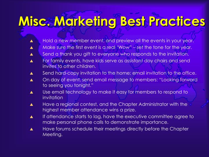 Misc. Marketing Best Practices