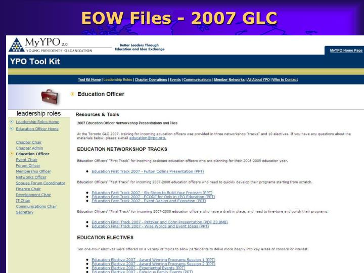 EOW Files - 2007 GLC