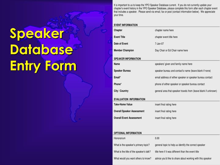 Speaker Database Entry Form