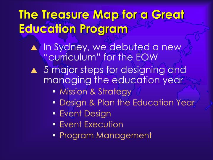 The Treasure Map for a Great Education Program