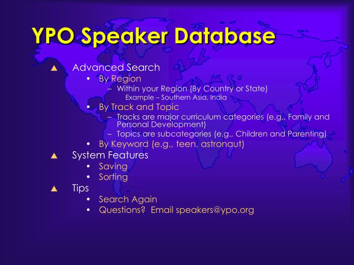 YPO Speaker Database