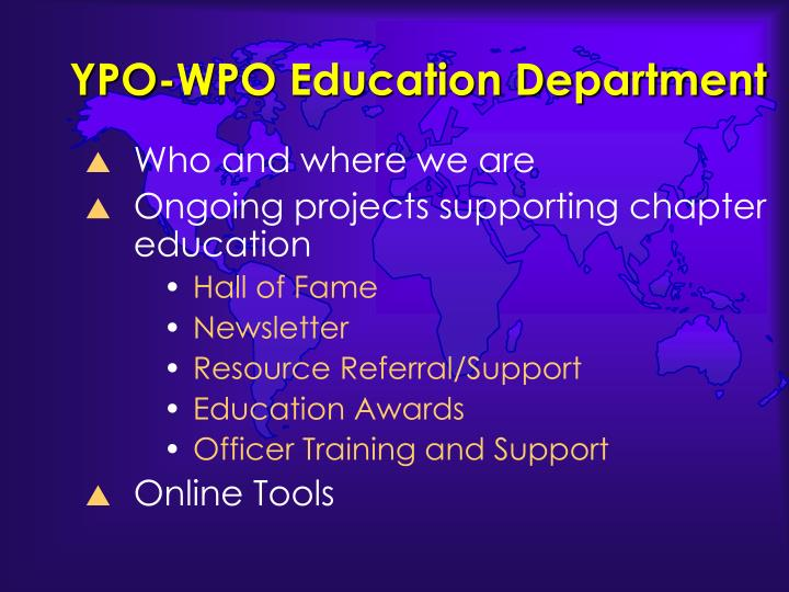 YPO-WPO Education Department