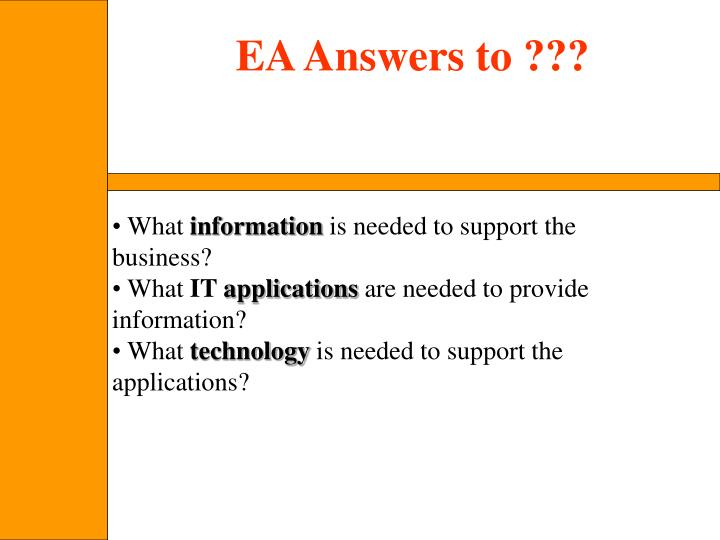 EA Answers to ???
