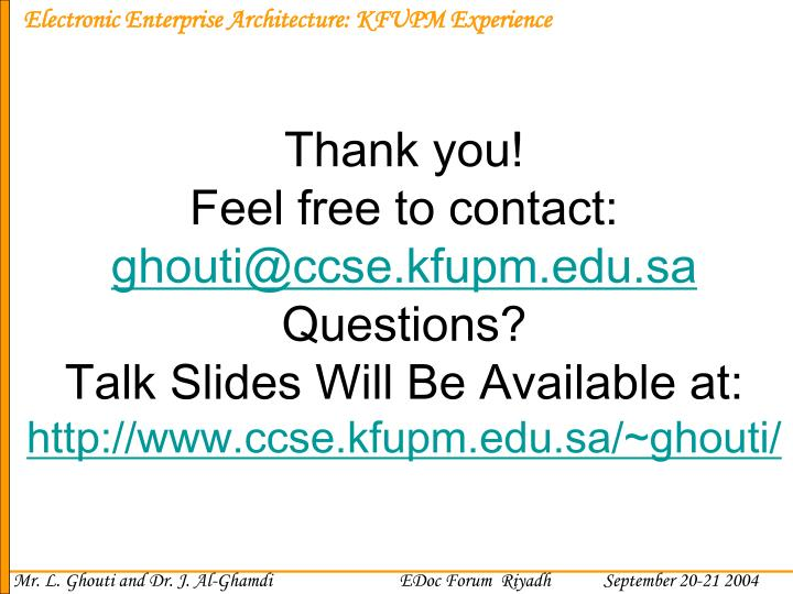 Electronic Enterprise Architecture: KFUPM Experience