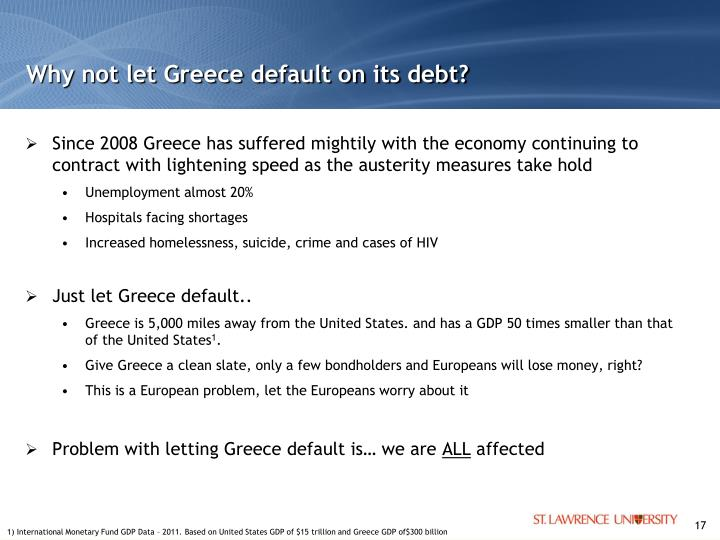 Why not let Greece default on its debt?