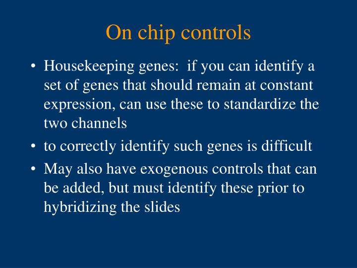 On chip controls