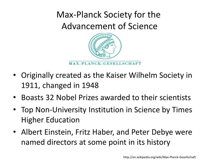 Max planck society for the advancement of science