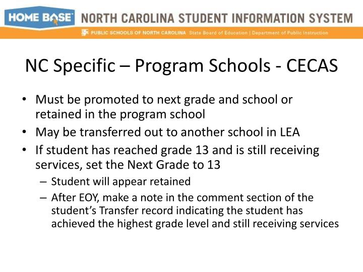 NC Specific – Program Schools -