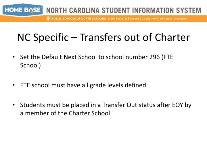 NC Specific – Transfers out of