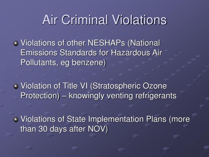 Air Criminal Violations