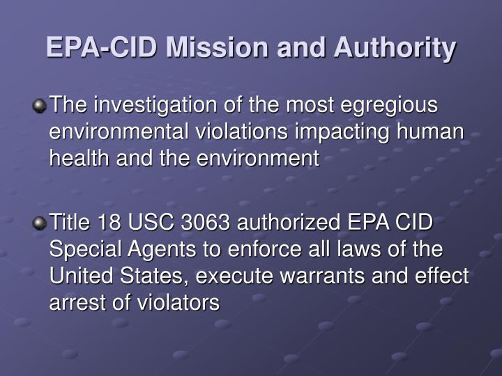 EPA-CID Mission and Authority