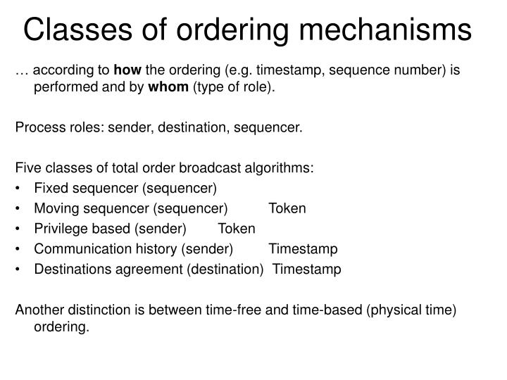 Classes of ordering mechanisms