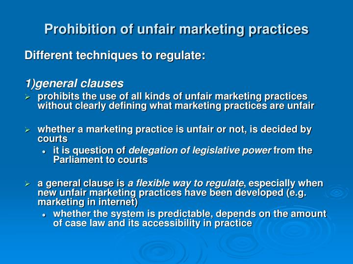 Prohibition of unfair marketing practices