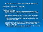 prohibition of unfair marketing practices