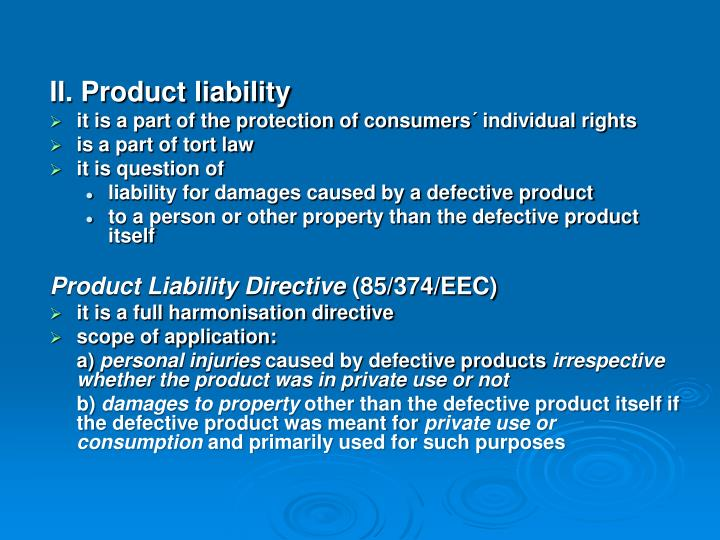 II. Product liability