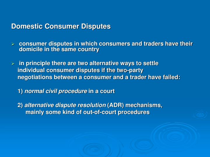 Domestic Consumer Disputes