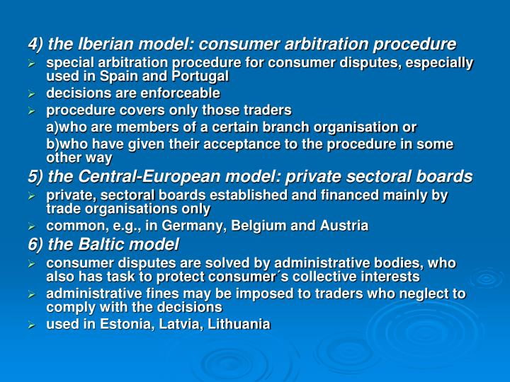 4) the Iberian model: consumer arbitration procedure