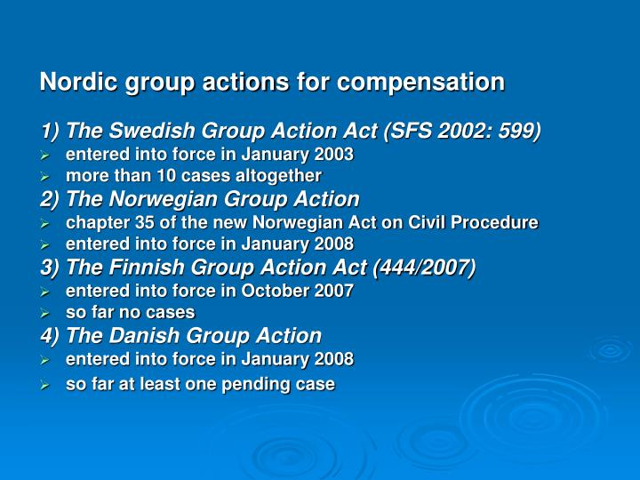 Nordic group actions
