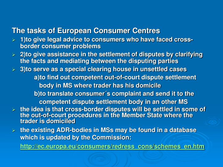 The tasks of European Consumer Centres