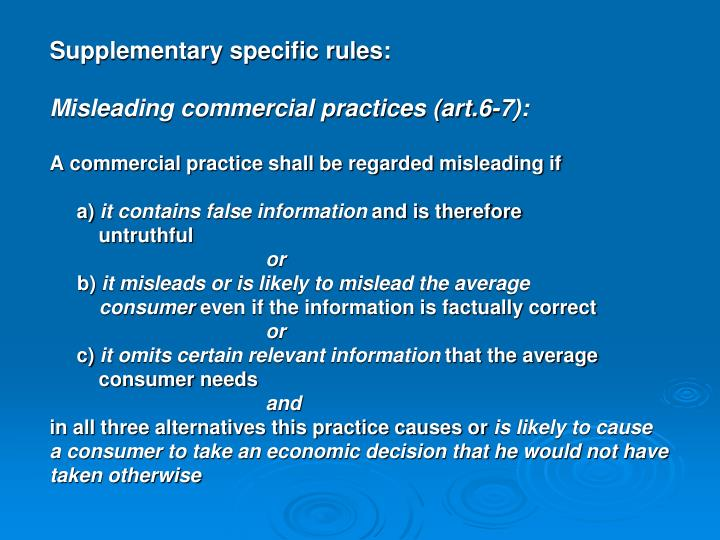 Supplementary specific rules:
