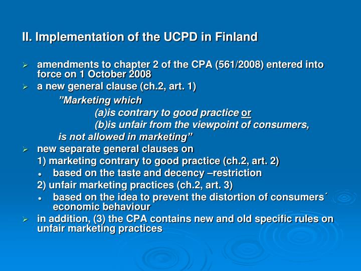 II. Implementation of the UCPD in Finland