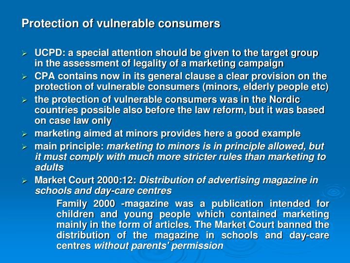 Protection of vulnerable consumers