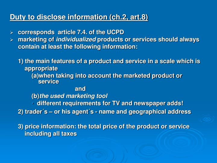 Duty to disclose information (ch.2, art.8)