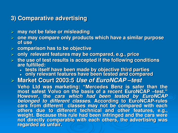 3) Comparative advertising