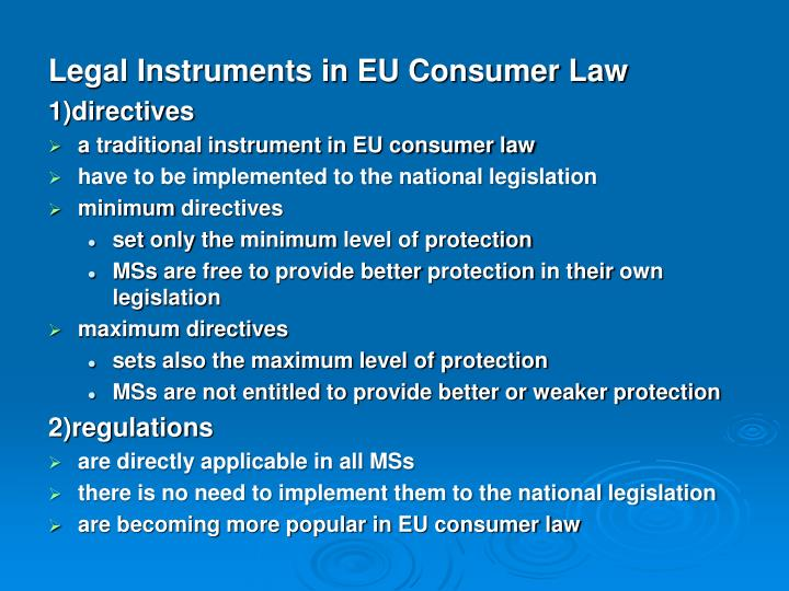 Legal Instruments in EU Consumer Law