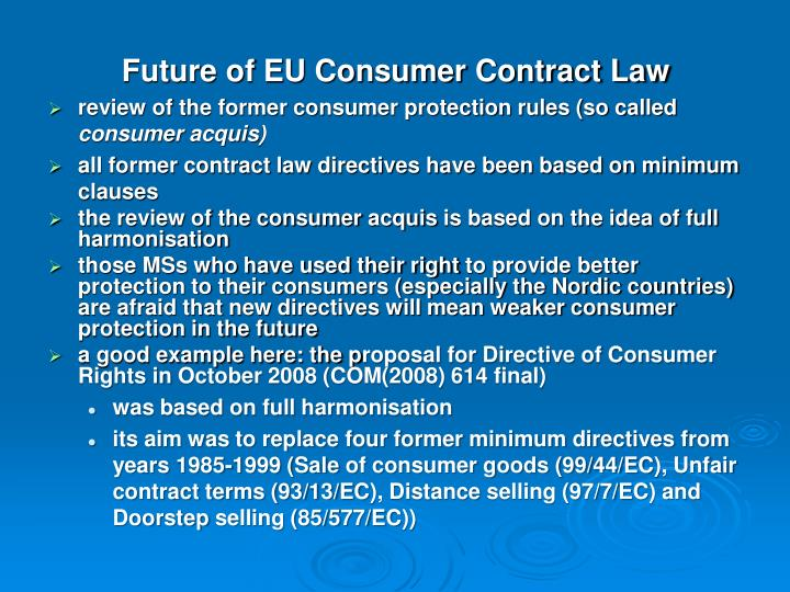 Future of EU Consumer Contract Law