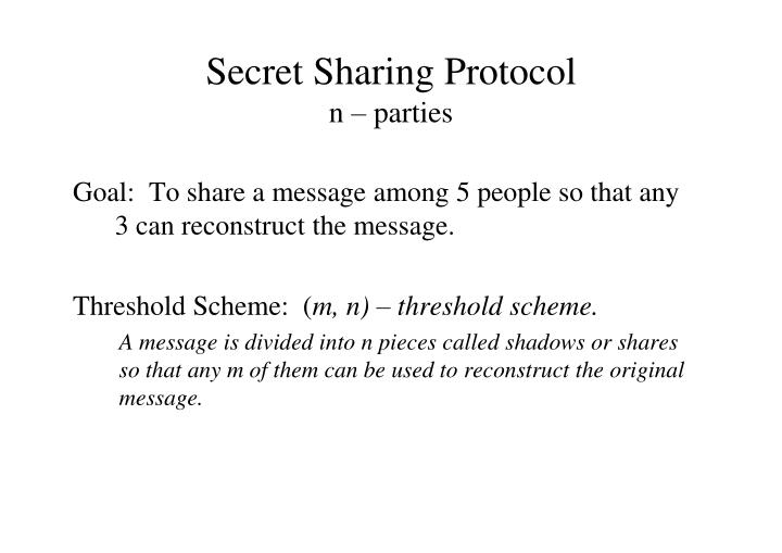 Secret Sharing Protocol