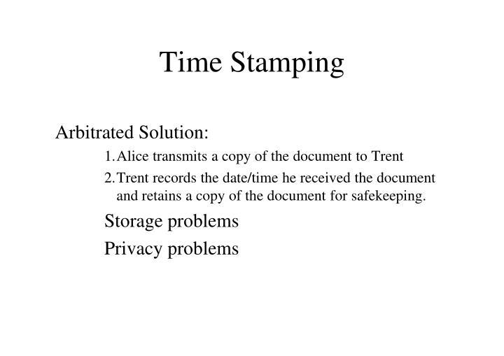 Time Stamping