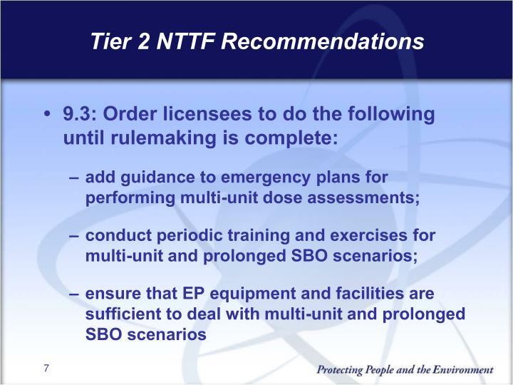 Tier 2 NTTF Recommendations