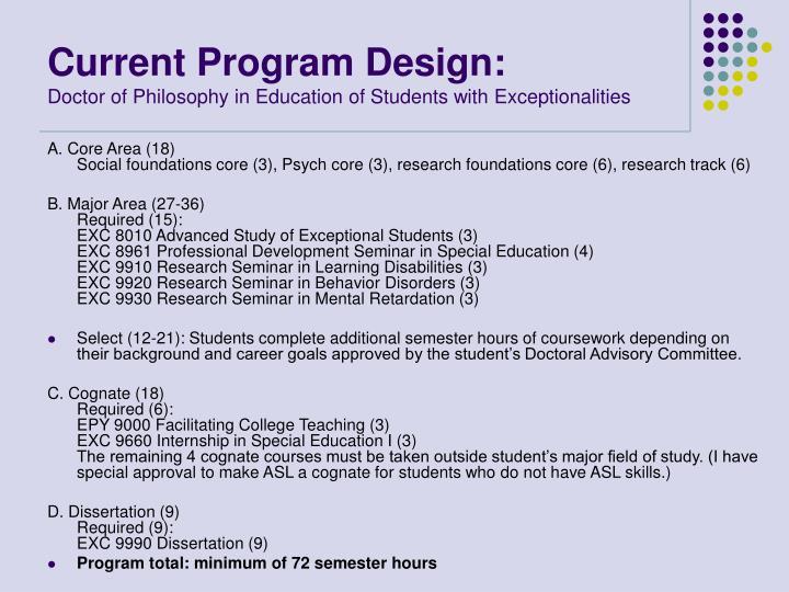 Current Program Design: