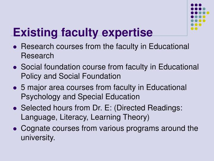Existing faculty expertise
