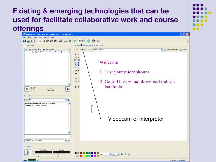 Existing & emerging technologies that can be used for facilitate collaborative work and course offerings