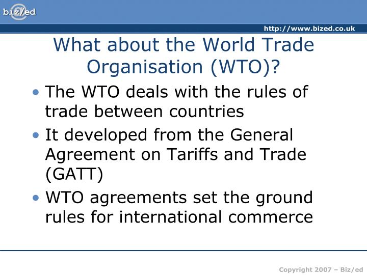 What about the World Trade Organisation (WTO)?