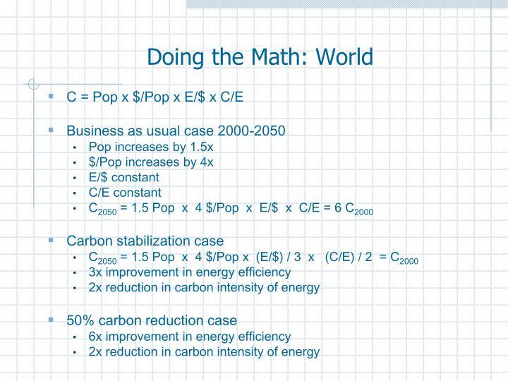 Doing the Math: World