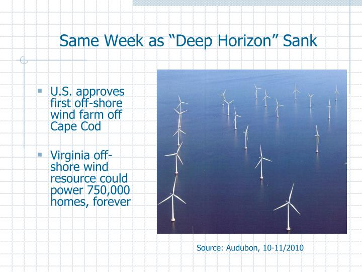 "Same Week as ""Deep Horizon"" Sank"
