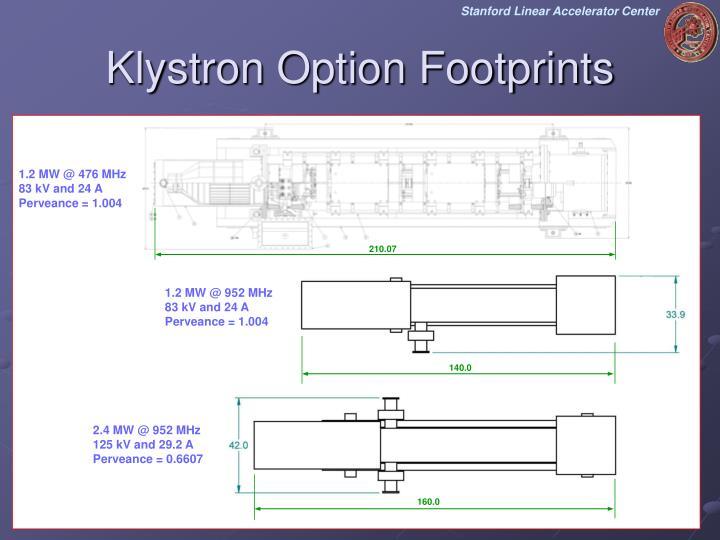 Klystron Option Footprints