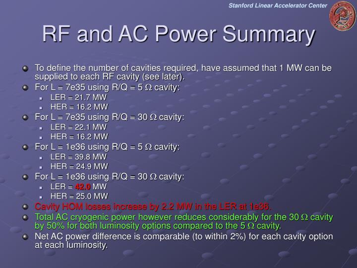 RF and AC Power Summary