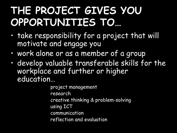 THE PROJECT GIVES YOU OPPORTUNITIES TO…