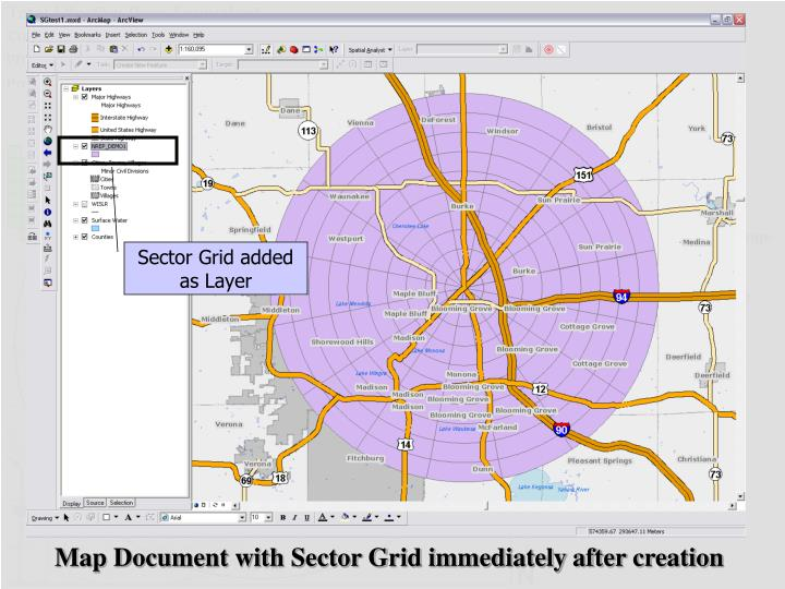 Sector Grid added as Layer