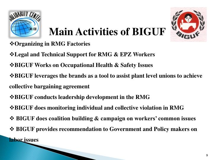 Main Activities of BIGUF