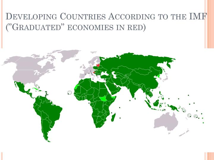 Developing countries according to the imf graduated economies in red
