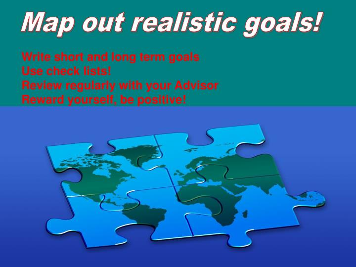 Map out realistic goals!