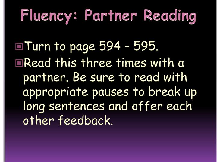 Fluency: Partner Reading